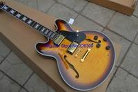 Wholesale- Custom Shop vintage sunburst ES335 Jazz Guitar Gold Hardware High Quality Wholesale HOT