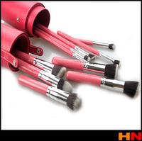 New Fashion Popular Beauty Pink 10pcs Makeup Brushes Sets Kit Striped Drums Concealer Foundation EyeLiner Brushes