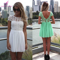2015 Real New Fashion Summer Dress Women Flower Embroidery Lace Dresses High Waist Princess Woman Clothes Vestidos Dropshipping