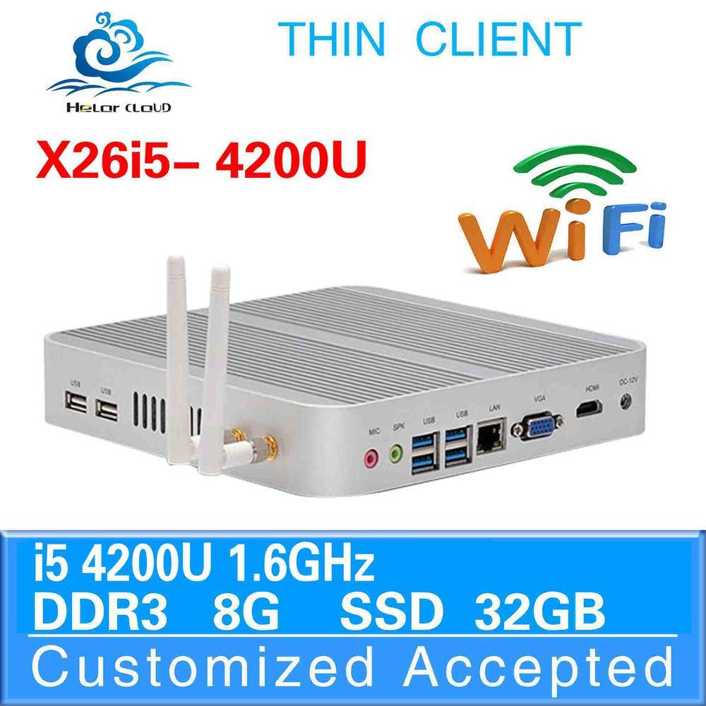 factory OEM i5 desktop mini pc x26-i5 4200u 8g ram 32g ssd win8 fanless thin client surveillance system server touch screen(China (Mainland))
