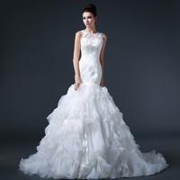 Free shipping 2015 Elegant Sexy Mermaid Puff Wedding Dress Bridal Gown Vestido De Novia S006