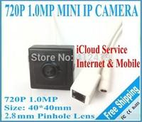 1280*720P 1.0MP ONVIF 2.3 pinhole indoor without ir P2P Plug and Play Mini POE Korea Sno IP Camera, free shipping
