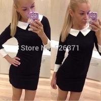 New fashion 2014 women winter and fall dress turn down collar casual dress elegant dress women work dress for women