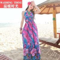 2015 Rushed Party Dresses Tropical Vestidos Free Shipping Vestido Beach Dress Bohemia Milk, V-neck Halter-neck One-piece Fashion
