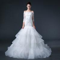Free shipping 2015 Top Sexy Mermaid Half Sleeve Puff Wedding Dress Bridal Gown Vestido De Novia S005