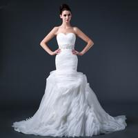 Free shipping 2015 Top Elegant Sexy Mermaid  Puff Wedding Dress Bridal Gown Vestido De Novia S007
