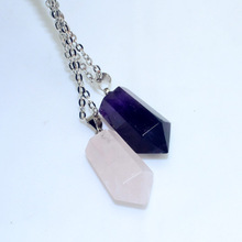 New Fashion jewelry Natural Amethyst pink crystal stone pendant necklace Women Girl lover Valentine s Day