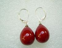 12*16mm luster red drop pearl 925 silver lockable hook earring