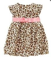 new fashion cotton baby summer girl princess leopard dresses