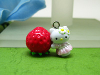 10 pieces Hello Kitty with Strawberries Charm / DIY Accessories/ Pendant Cute Gifts ALK448 Wholesale