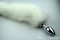 L 4.1*9.5cm White Fox Tail butt plug 35cm long tail Metal anal Plug Anal Sex Toy