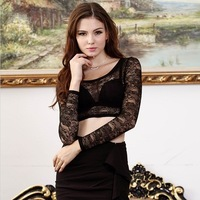 spring summer women sexy tops lace Transparent bottoming shirt T-shirt short section club exposed navel Tight sport blouse black