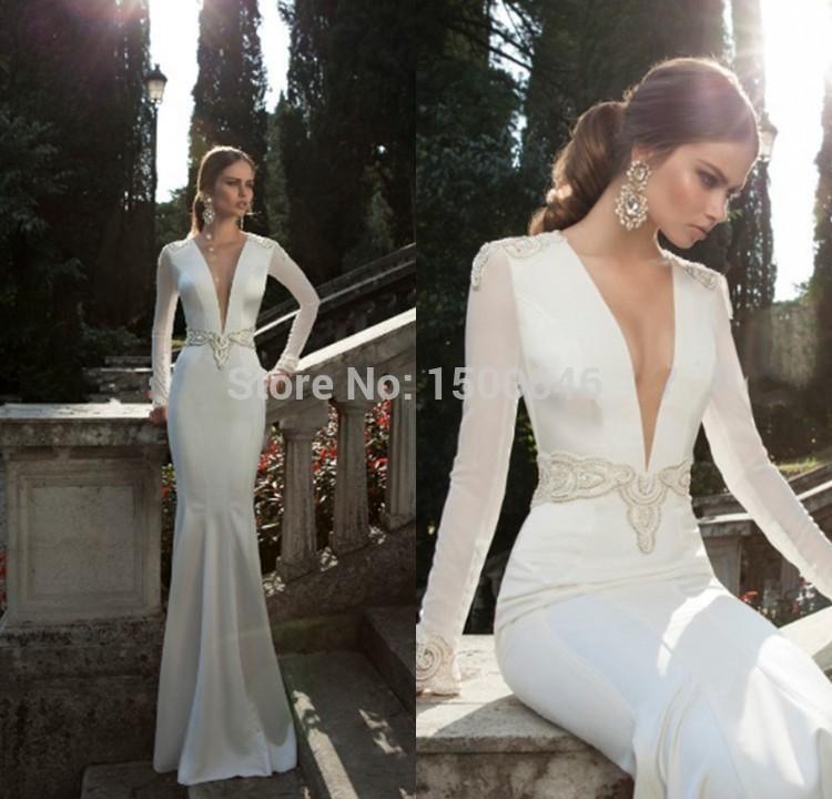 2015 Vestidos De Noiva New Fashionable Simple Western White Beading Deep Long Sleeve V Neck Wedding Dress Mermaid Satin Princess(China (Mainland))