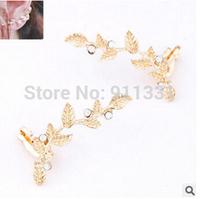 Wholesale 2015 New Fashion Leaf Girl Ear Cuff Earrings Rhinestone Crystal Earrings Earring Clip The Women FE0305