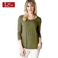 ECW NEW Women Casual T shirt Fashion European Style Cotton And Chiffon Slim Net Splice T shirt With Seven Sleeve Women Tops