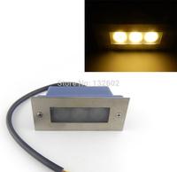 4pcs/lot Indoor/Outdoor Stainless Steel 3W LED Waterproof Stair Walkway Wall Corner Lamp Warm White 85-265V