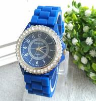 2015 new Wholesale Women watches Geneva Crystal Watch Jelly Gel Silicon Girl Women's Quartz Wrist Watch Candy Colors,10pcs/lot