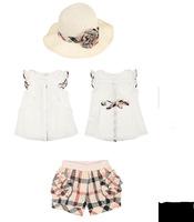 2-5Y 2015 summer children's clothing set wholesale girls suits UK style shorts+shirt+hat three piece set wholesale