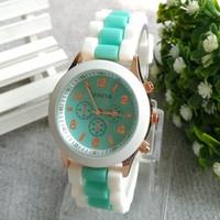 Top Sale! Multi Color Fashion GENEVA top Quality Silicone Quartz Unisex Jelly Wristwatch,women dress watches free shipping 2014