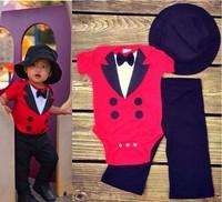 3set/lot 80-95cm baby boys bodysuits 2015 new baby sets 3pcs hat+bodysuits+pants factory sale 673