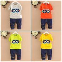 4set/lot boys sets for baby minions sets 2pcs shirts+pants kids sets children clothes 749
