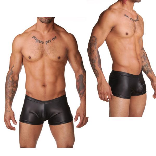 Sale Men Sexy Underwear Black Faux Leather Latex Boxer Shorts Elastic Stretchable Undershorts Men Erotic Panties Swimming Trunks(China (Mainland))