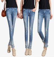 Brand designer recommend 2015 spring summer slim all-match women casual denim capris popular ripped cuffs sknny jeans woman SALE