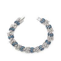 Brand JEWELRY Fashion EU Style Platinum Plated Blue Crystal Stone Bracelets & Bangles Luxury Romantic Wedding Jewelry Gift