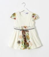 2015 Baby Girl Formal Lady Short Sleeve Floral Dresses  Princess Elegant Clothing  6 pcs/lot