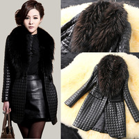Hot Seller Fashion Women Leather Clothing Large Faux Raccoon Fur Collar Imitate Sheepskin Leather Jacket Outerwear Overcoat
