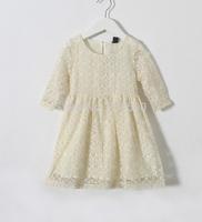 2015 Children High Quality Sweet Half Sleeve Lace Tulle Dress, Baby Girls Brand White Cream Garment, 5 pcs/lot,Wholesale