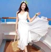 Vestido De Renda Vestido Summer Bohemia Chiffon  Beach Dress Female Spaghetti Strap Expansion Bottom Irregular Ruffle