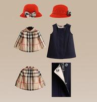 12-24M 2015 foreign trade baby girls clothing wholesale cotton Plaid sundress Hat three piece dress set