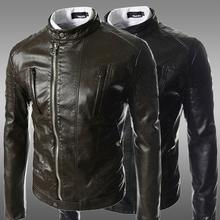 TAMA Free shipping Black PU Motorcycle Faux Leather Jackets Men Leather Coat Winter Long Sleeve Fashion 2014 Men's Coats Jaqueta
