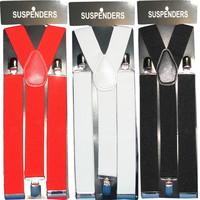 Mens 35mm Wide Adjustable Y-Back Elastic Braces Suspenders  in Black, White or Red
