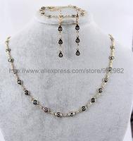 Wholesale 2015 new fashion,6MM Turkey's demon evil eye glass jewelry sets,gold plating,1 necklace+2 earring+1bracelet,FYS040