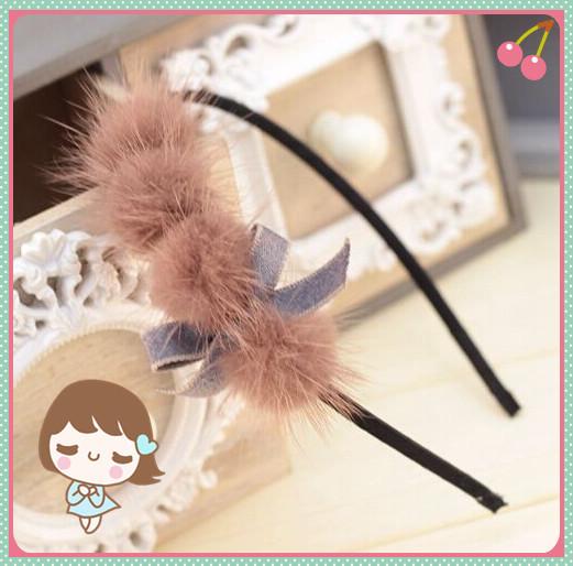 Korea handmade High Quality headwear Fashion Elegant lady Hairband Cute Sweety girl Lovely hair bands mink Fur Ball for woman(China (Mainland))