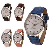 Ladies Womens Mens PU Leather Quartz Analog Wrist Watch Free shipping&Wholesale