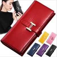 new women wallets genuine leather wallets for women fashion brand design crocodile patent leather wallet H buckle clutch wallet