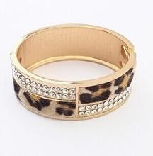 Rhinestone leopard print  wide bracelets bangles/korean luxury  strass pulsera  Wholesale mujer/pulseiras femininas/brazalete