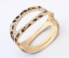 Rhinestone gold leopard print wide cuff bracelets bangles korean luxury pulsera Wholesale mujer pulseiras femininas brazalete