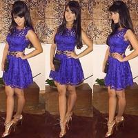 2015 Real Chiffon Vestido De Renda Vestidos Free Shipping Party Dresses New Women Sleeveless Self-cultivation Lace Party Dress