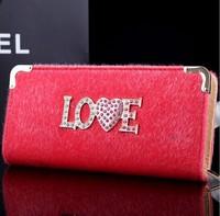 2015 New mohair plush Famous Design Love heart bag Women Wallet,Long Draw-out Type Female Wallet Clutch Purses carteira feminina