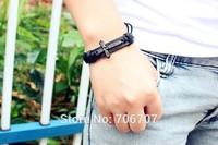 New 2014 High Quality 3pcs Vintage men jewelry Scripture cross metallic Black & brown Leather Braid Bracelets & Bangle free ship