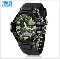 Free Shipping SYNOKE Dual Movement wristwatch Sports Watch Swimming 50m Waterproof Digital watches LED Alarm Week Date Stopwatch