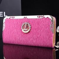 2015 new hot Ms. Long women wallet girl card lady purse mohair crown wallet Plush wallet clutch evening bag Drop free shipping