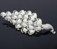 Luxury Peacock Wedding Headband Made of Crystal Rhinestones and Imitation Pearl very Shinny A grade Quality Free Shipping