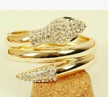 Hiphop Steampunk Personalized cristal snake wrap bracelets bangles/korean luxury  pulsera mujer/pulseiras femininas/brazalete
