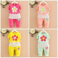 4set/lot baby girls sets flower 2015 spring kids sets 2pcs children clothing wholesale 755