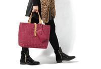 AC635 fashion woman rivet bicolor large size tote bag shopping bag handbag shoulder bag with Pouch red